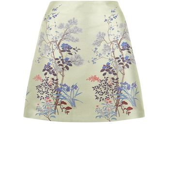 Mint Green Sateen Floral Jacquard Skirt New Look