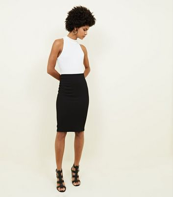 Black Textured Pencil Skirt New Look