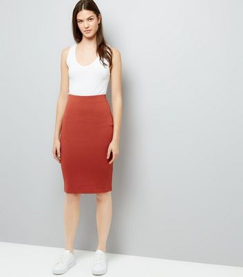 Brown Textured Pencil Skirt New Look
