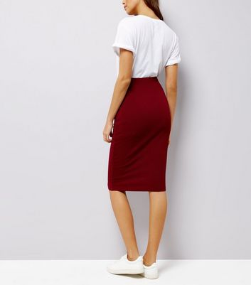 Burgundy Textured Pencil Skirt New Look