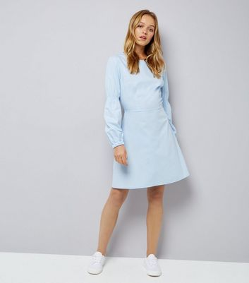 Pale Blue Balloon Sleeve Dress New Look