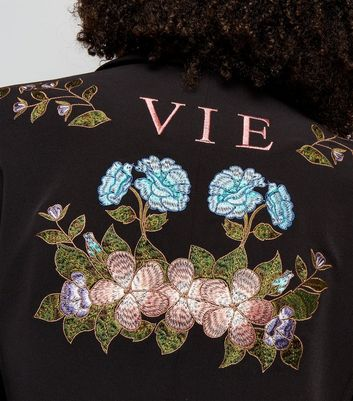Black Floral Embroidered Blazer New Look