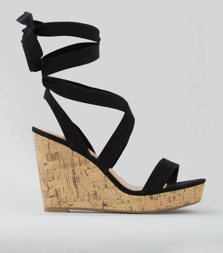 wholesale dealer 2c968 1c448 Schwarze Sandaletten mit Keilabsatz und Fesselriemen, Weite H Für später  speichern Von gespeicherten Artikeln entfernen