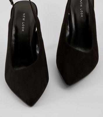 Black Suedette Pointed Sling Back Heels