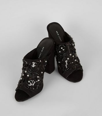 Black Suedette Embellished Block Heeled Mules New Look