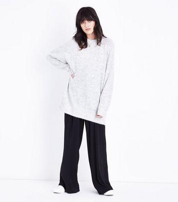 Pale Grey Raglan Sleeve Longline Jumper New Look