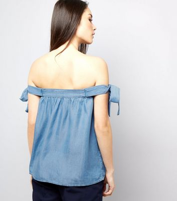 Blue Tie Sleeve Bardot Neck Top New Look