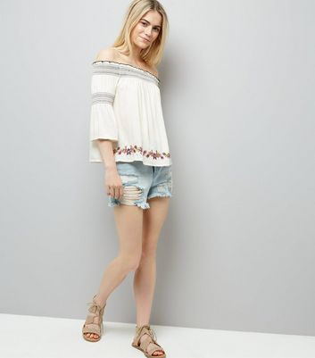 Cream Embroidered Bardot Neck Top New Look