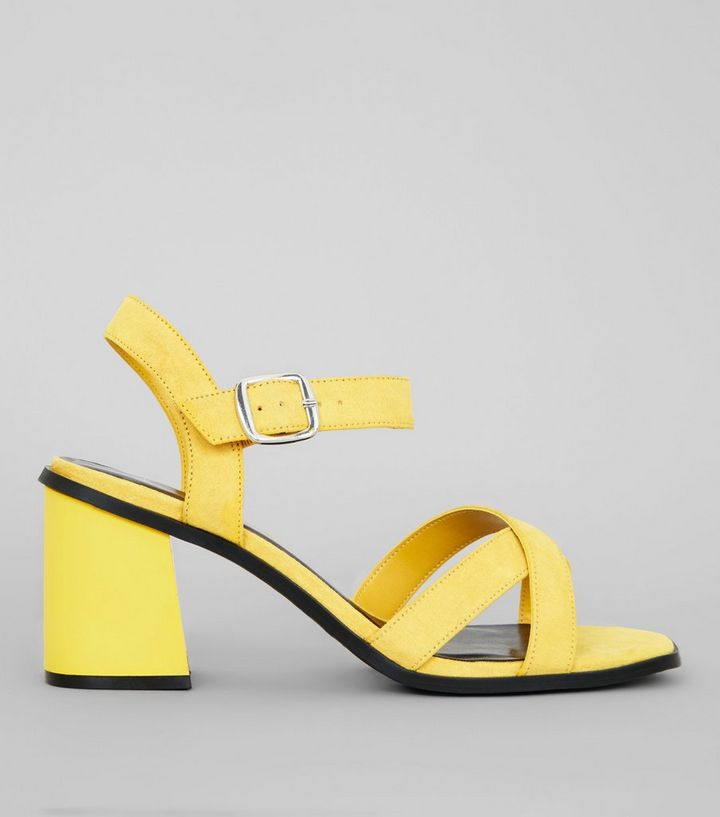 962824896f02 Wide Fit Yellow Suedette Square Toe Block Heels