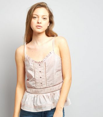 Shell Pink Embroidered Cami Top New Look