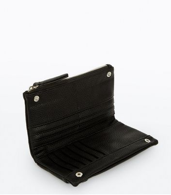 Black Perforated Slouchy Purse New Look