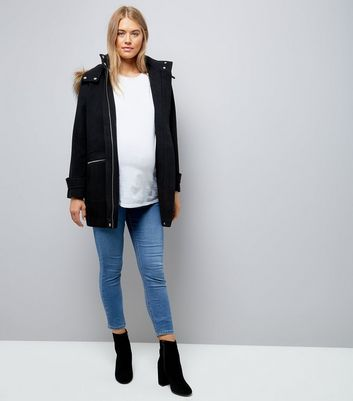 Maternity Black Faux Fur Hooded Duffle Coat New Look