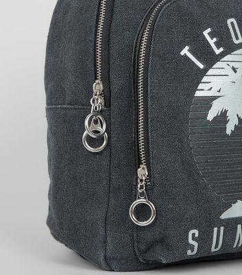 Grey Tequila Sunrise Printed Canvas Backpack New Look