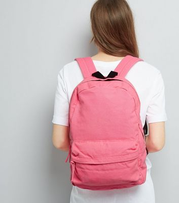 Pink Canvas Backpack New Look