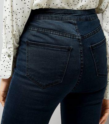 Dark Blue High Waist Drop Hem Skinny Hallie Jeans New Look