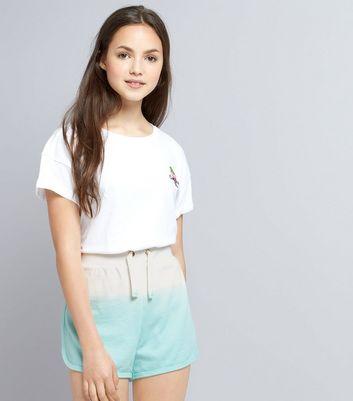 Teens Mint Green Dip Dye Jersey Shorts New Look