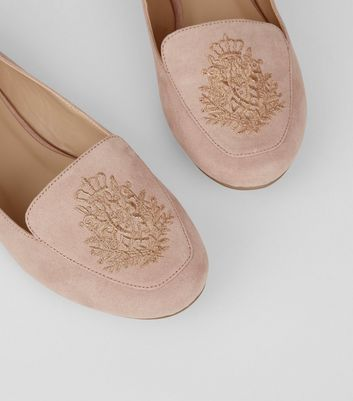 Pink Suedette Crest Embroidered Loafers New Look