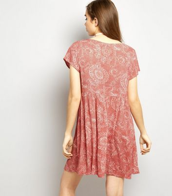 Brave Soul Pink Abstract Print Smock Dress New Look