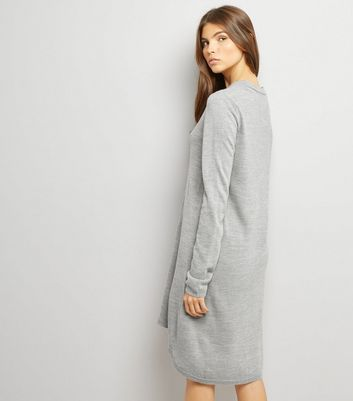 JDY Grey Dip Hem Long Sleeve Dress New Look