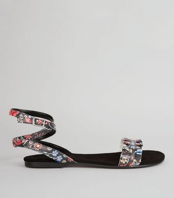 Black Floral Print Frill Strap Detail Sandals New Look
