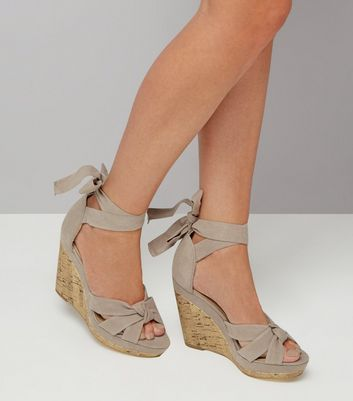 Grey Suedette Tie Up Espadrille Wedges New Look