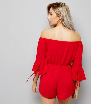 Petite Red Bell Sleeve Bardot Neck Playsuit New Look