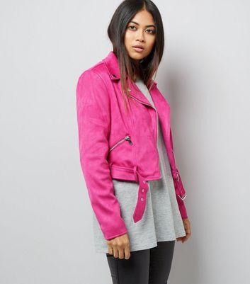 Petite Bright Pink Suedette Biker Jacket New Look