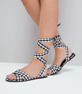 Black Gingham Ankle Tie Sandals New Look