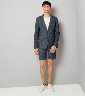 Blue Cross Hatch Tailored Shorts New Look