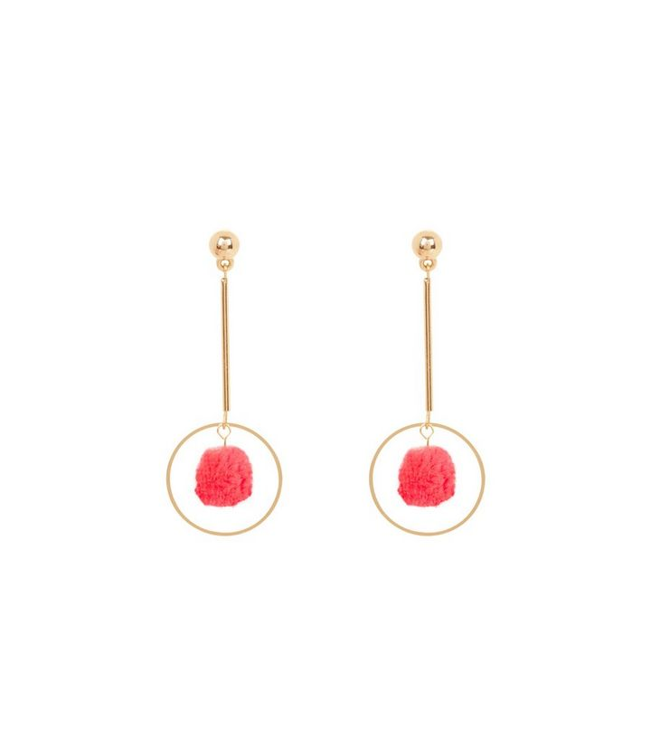 eaa7878a8dd7cb Neon Pink Pom Pom Drop Earrings   New Look
