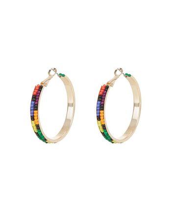 Multi Coloured Bead Hoop Earrings New Look