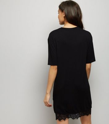 Black Enchanted Rock Print Lace Hem T-Shirt Dress New Look