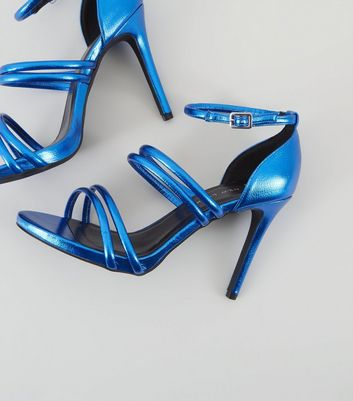 Wide Fit Blue Metallic Ankle Strap Heels New Look