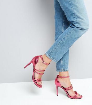Wide Fit Pink Metallic Ankle Strap Heels New Look