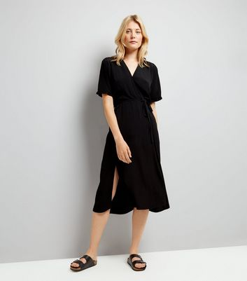 Black Wrap Front Frill Sleeve Midi Dress New Look