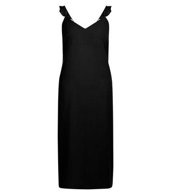 Black Frill Trim Strap Slip Dress New Look