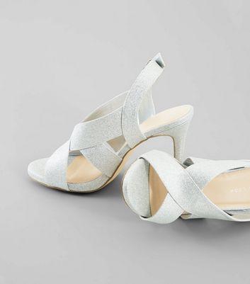 Wide Fit Silver Glitter Cross Strap Sling Back Heels New Look