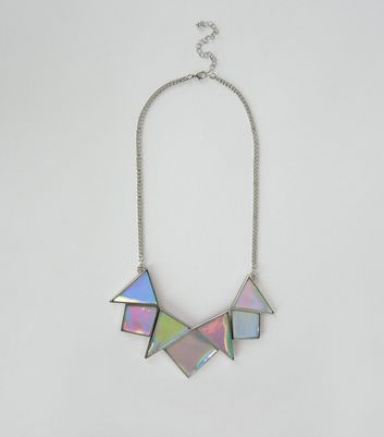 Silver Iridescent Tile Necklace New Look