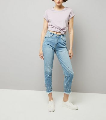 Blue Studded Mom Jeans New Look