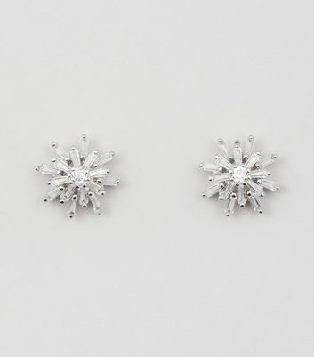 Silver Cubic Zirconia Star Stud Earrings New Look