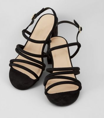 Wide Fit Black Strappy Heeled Sandals New Look