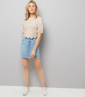 White Floral Embroidered Scallop Hem Top New Look