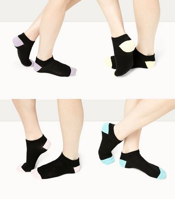 4 Pack Black Marl Trim Trainers Socks New Look