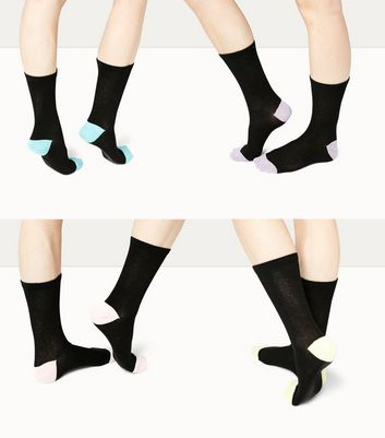 4 Pack Black Marl Trim Ankle Socks New Look