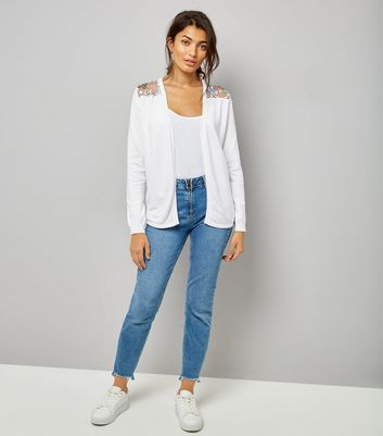 White Contrast Floral Lace Back Cardigan New Look