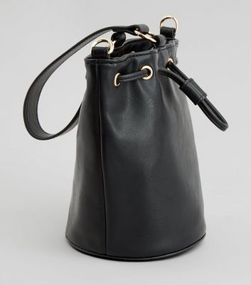 Black Drawstring Top Mini Bucket Bag New Look