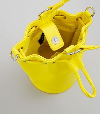 Yellow Drawstring Top Mini Bucket Bag New Look