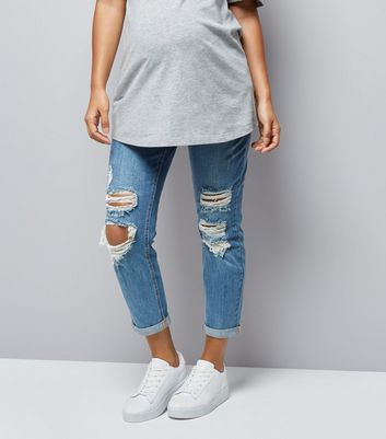 Maternity Blue Ripped Under Bump Mom Jeans New Look