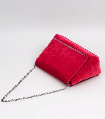 Pink Velvet Snakeskin Textured Shoulder Bag New Look