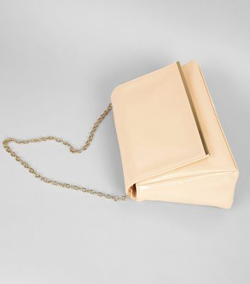 Nude Pink Patent Shoulder Bag New Look
